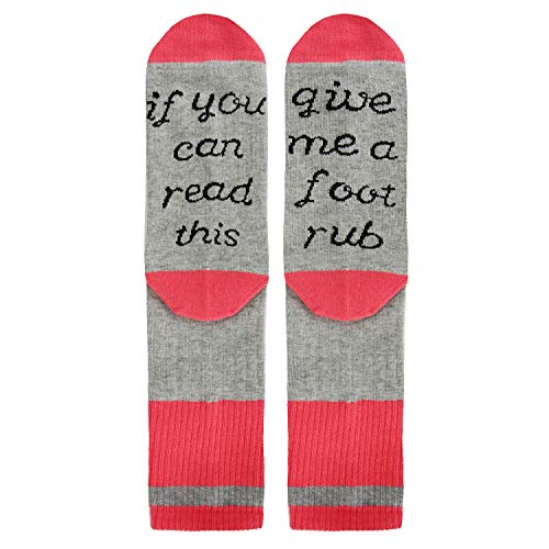 Novelty Funny Saying Crew Socks, If You Can Read Give Me A Foot Rub, Gag Gift for Women