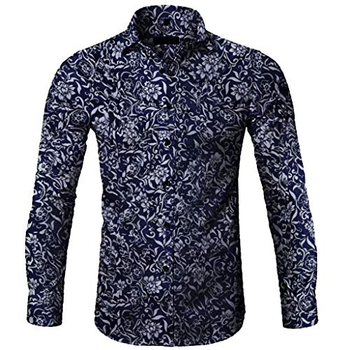 Shirt Stylish Floral Long Sleeve Shirt Fashion Casual Printed Button T-Shirt Top Blouse Men (XL,Blue)]()