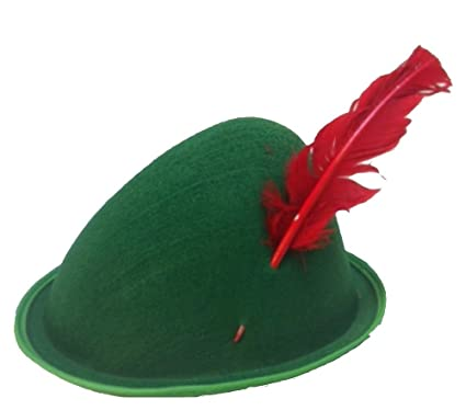 2823a4d2 Amazon.com: Oktoberfest Felt Alpine Hats in Green w/assorted Colored Turkey  Feathers LOT of 12: Clothing