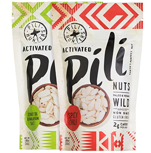 Sprouted Pili Nuts Sampler, Original and Spicy Chili