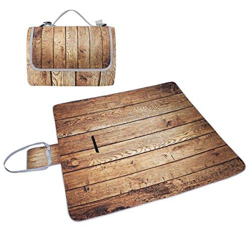 COOSUN Holz Picknick Decke Tote Handlich Matte Mehltau resistent und wasserfest Camping Matte für Picknicks, Strände, Wandern, Reisen, Rving und Ausflüge