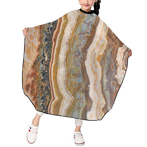 Children Haircut Barber Cape Cover Agate Marble Patterns Limestone Minerals Form Watercolor Ink Texture Hair Cutting Cape for Kid for Hair Cutting,Styling and Shampoo - 39 X 47in