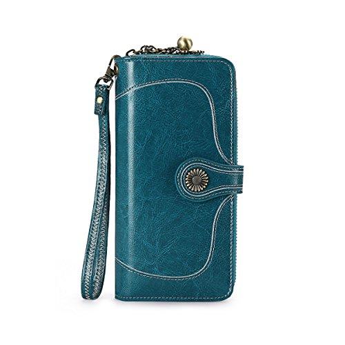 Womens Wallet RFID Blocking Parent-Child Bifold Short Long Real Leather Handbag Flower Snap