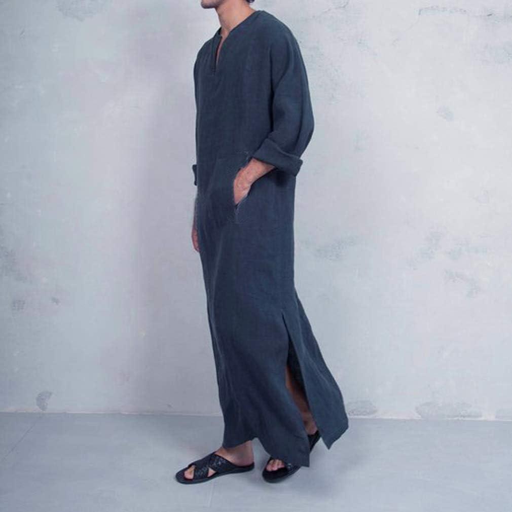 Hombre Musulmanes Kaftan Etnico Retro Robes Manga Corta Suelto Túnicas Lateral De Hendidura Color Sólido Larga Camisa Arabe Dubai Islámico Thobe: Amazon.es: Ropa y accesorios