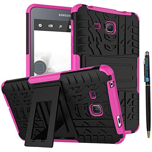 Tab-A-70-Inch-Back-Case-DWaybox-2in1-Combo-Hybrid-Rugged-Heavy-Duty-Armor-Hard-Cover-Case-with-kickstand-for-Samsung-Galaxy-Tab-A-70-Inch-2016-SM-T280-T285-Samsung-Tab-A6-70-Hot-Pink