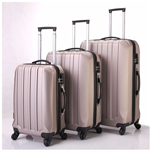 3 Pcs Luggage Travel Set Bag ABS Trolley Suitcase 4 Wheels Gold by Unknown