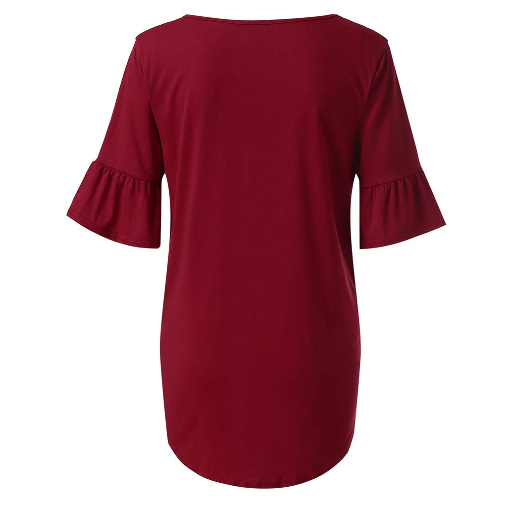 Women New Clothes HOSOME Womens Fashion Knotted O-Neck Flare Sleeve Strap Short Sleeve Top