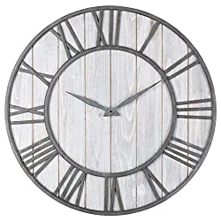 NOMSOCR Decorative Wall Clock, Wooden Retro Style Silent Wall Clock Wall Art for Kitchen, Living Room, Bathroom, Bedroom, Office (B)