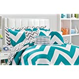 Fashion Street Fiesta 11-Piece Reversible Bed in A Bag, King, Teal