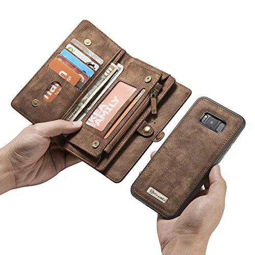 Galaxy Note 9 Case,Miya Premium PU Leather Wallet Case with ID Card Holder Flip Cover Case [Magnetic Closure] Detachable Zipper Pouch Case for Samsung Galaxy Note 9 (2018 Release) - Light Brown by MIYA LTD (Image #4)