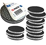 ''SlipToGrip'' Non Slip Furniture Pad Grippers - 2'' Round with Adhesive Side - Furniture Non-Slip Pads with 3/8'' Heavy Duty Felt Core. No Nails. Patent Pending (12 Pack)