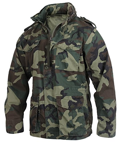 (Rothco Vintage Lightweight M-65 Field Jacket, Woodland Camo, Large)