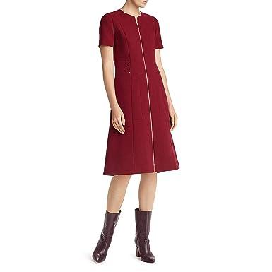 1b878a6553 Lafayette 148 New York Womens Sonya Wool Fit   Flare Wear to Work Dress Red  0