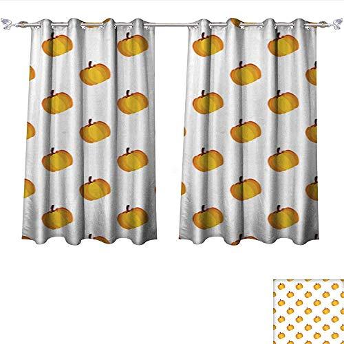 Room Darkening Wide Curtains Orange White Holiday Seamless Halloween Pattern Tie Up Window Drapes Living Room W55 x L39/Pair ()