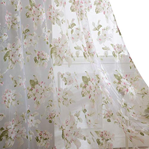 BROSHAN Floral Voile Curtains, Vintage Flower Print Sheer Curtain Panels for Living Room Bedroom Window Curtain Rod Pocket, 1 Panel