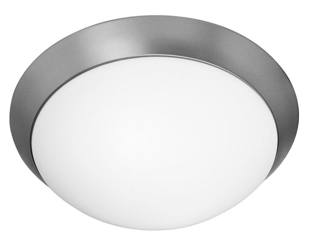 Cobalt - 2-Light 15''dia Flush Mount - Brushed Steel Finish - Opal Glass Shade