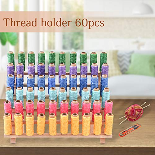 Thread Holder, 60 Spools Wooden Thread Rack with Needles Sewing Scissors Needle Threader for Sewing Organizer DIY Project and Craft Favor Embroidery Quilting Hair-braiding