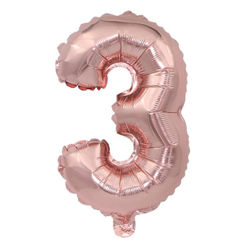 Fanxing Rose Gold Number 0-9 Foil Digital Balloons for Birthday Party 32 Inch