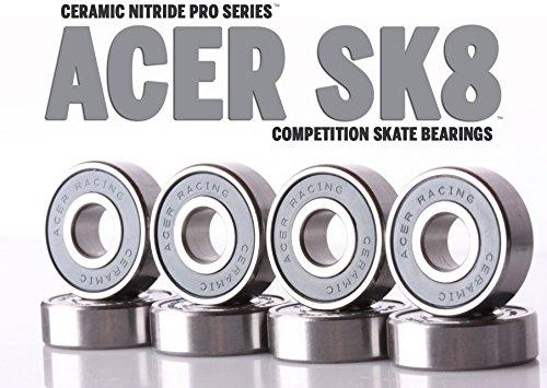 Bones Original Swiss (608 Ceramic Skate Bearings 8 piece 8x22x7mm Si3N4 by ACER Racing)