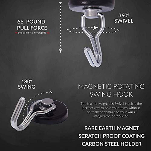 Master Magnetics 7580 Magnetic Hook Organizer Rotating Swing Hook 65 Pound Pull Force 1.47Diameter 0.54Thick Black, Sold as 3 Pack by Master Magnetics (Image #4)
