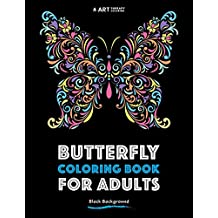Butterfly Coloring Book For Adults: Black Background