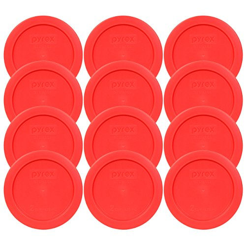 Pyrex 2 Cup Red Round Storage Lid/Cover #7200-PC for Glass Mixing Bowls - 12 Pack