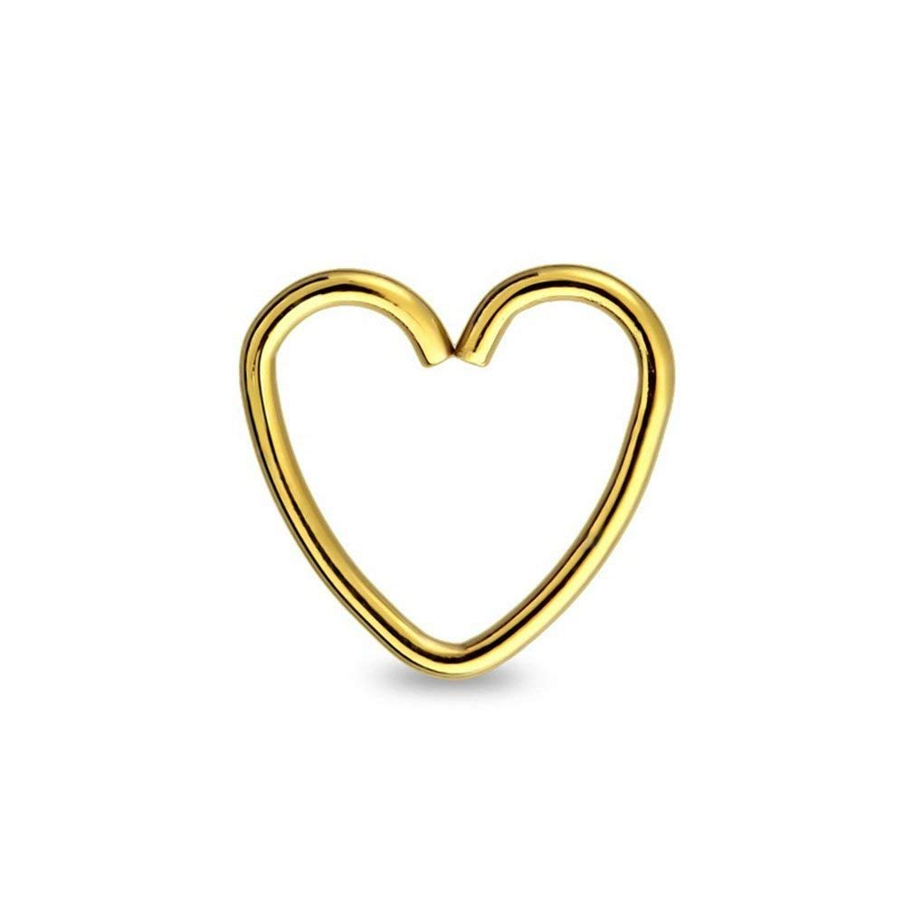 Covet Jewelry 316L Surgical Steel Heart Shape Nose Hoop Ring