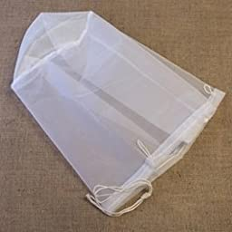 "Nylon Straining Bag with a Drawstring and Round Bottom, 12"" x 12"""
