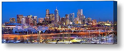 Canvas Denver Skyline at Dusk Color City Downtown Broncos Photographic Panorama Poster Print Photo