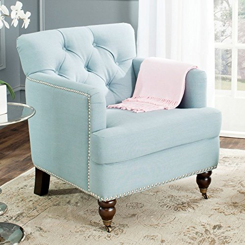 Safavieh Hudson Collection Colin Sky Blue Club Chair, (Hudson Chair Living Room Chair)