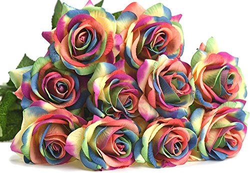 FiveSeasonStuff 10 Rainbow Stems of Real Touch Silk s 'Petals Feel and Look like Fresh Roses' Artificial Flower Bouquet for Wedding Bridal Office Party Home (Rainbow Centerpieces)
