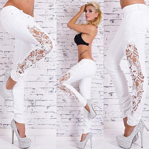 Basse Taille Jeans Femmes Femme Familizo les Pantalon Sexy pour Sport Blanc vider de Pantalons tEqwn