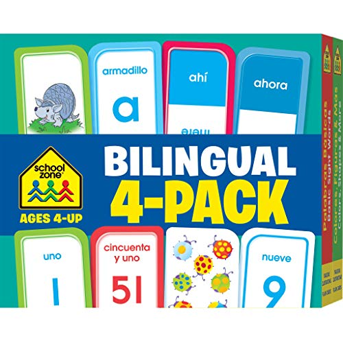 School Zone - Bilingual Spanish/English Flash Cards 4-Pack - Ages 4 and Up, Preschool to Kindergarten, ESL, Language Immersion, ABCs, Alphabet, Sight ... Card 4-pk) (English and Spanish Edition) ()