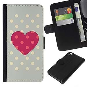 KLONGSHOP // Tirón de la caja Cartera de cuero con ranuras para tarjetas - Dot grises Centros rosa del amor de polca - HTC Desire 820 //