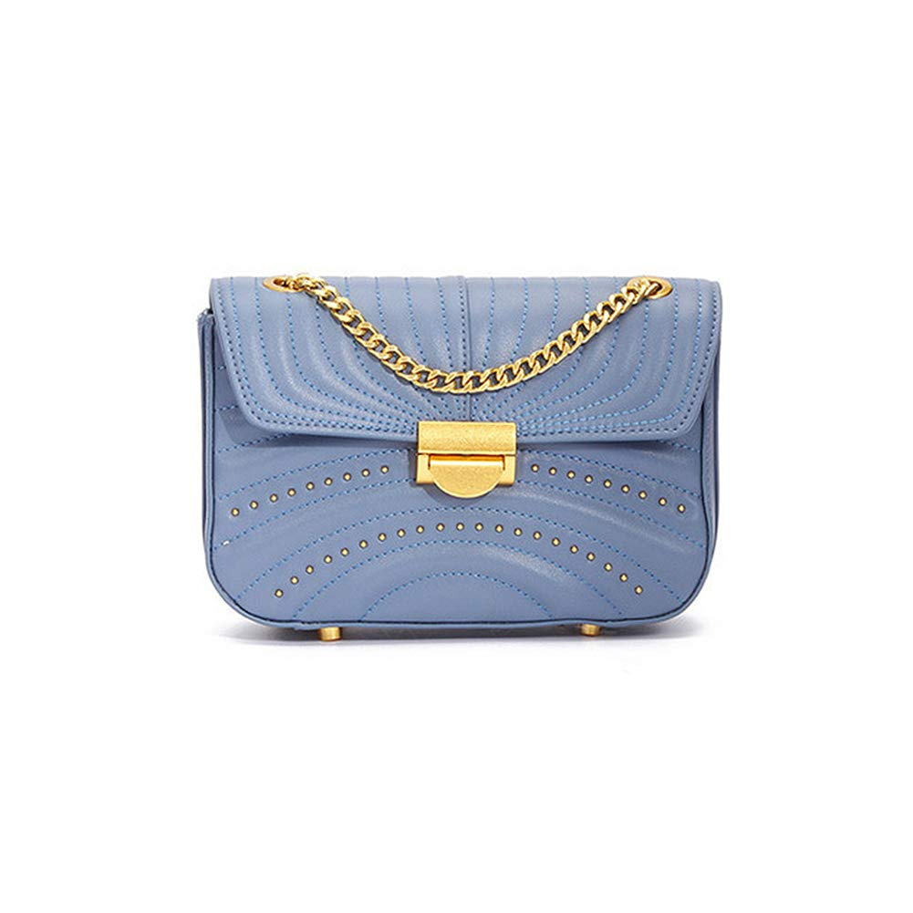 bluee Onzama Women Stylish Designer Rivets Shoulder Purse Genuine Leather Quilted Chain Bag