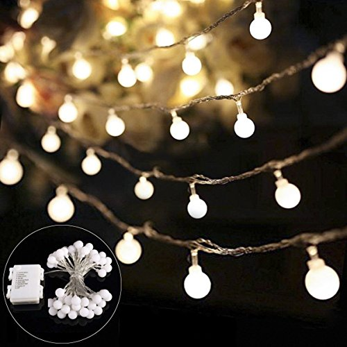 B-right 14.8ft Globe String Light, Battery Powered 8 Modes Outdoor Waterproof Decorative String Lights for Bedroom Patio Garden Parties Wedding, 40 LED Warm White