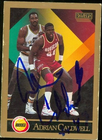 Autograph Warehouse 46189 Adrian Caldwell Autographed Basketball Card Houston Rockets 1990 Skybox No .106