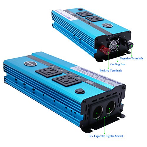 1000W Car Power Inverter DC 12V to AC 110V Converter with 2 Cigarette Lighter Sockets and Digital Display 2 AC Outlets and 4 USB Charging ports for Laptops, Tablets and other Electronics Devices by Jacknthe (Image #1)