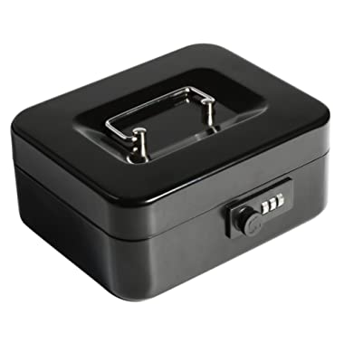 Decaller Cash Box with Combination Lock, Safe Metal Small Locking Box with Money Tray, 7 4/5  x 6 4/5  x 3 3/5 , Black, QH2004S