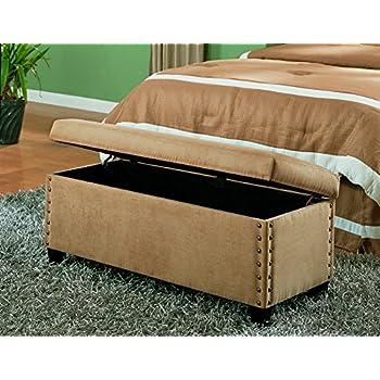 Amazon Com Coaster Classic Storage Bench With Nailhead