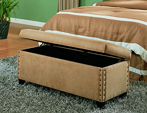 Coaster Classic Storage Bench with Nailhead Trim Design, Tan Microfiber by Coaster Home Furnishings