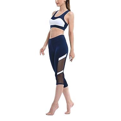 Beiersi 2 Piece Femmes Survêtements Yoga Gym Fitness Sport Costume Sport  Soutien-Gorge + Pantalon 34bf936219c