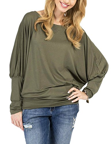 Leadingstar Women Long Dolman Sleeve Boat Neck Casual T Shirts Tops Blouse