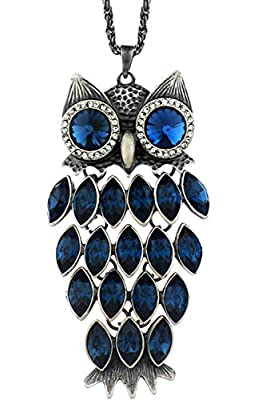 """Neoglory Blue Crystal Made with Swarovski Elements Vintage Owl Pendant Necklace Charm Jewelry 35.4"""""""