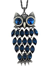 "Neoglory Jewelry Made with Swarovski Elements Crystal Blue Fashion Vintage Owl Animal Pendant Necklace Charm 35.4"""