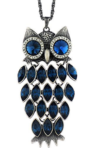 Neoglory Blue Crystal Made with Swarovski Elements Vintage Owl Pendant Necklace Charm Jewelry 35.4