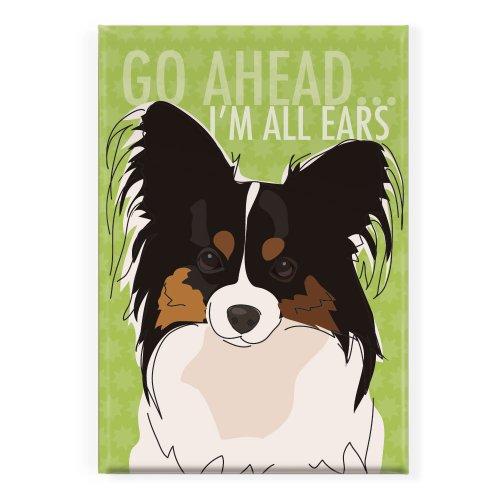 - Pop Doggie Go Ahead All Ears Papillon Fridge Magnet