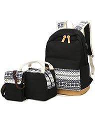 School Backpacks for Teen Girls Lightweight Canvas Backpack Bookbags Set