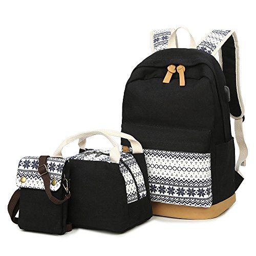 School Backpacks for Teen Girls Lightweight Canvas Backpack Bookbags Set