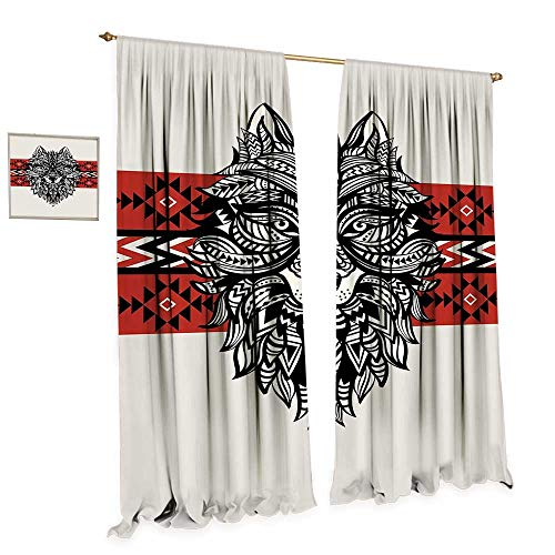 cobeDecor Wolf Window Curtain Fabric Tattoo Style Ethnic Totem Style Animal Face with Swirls Geometric Triangle Motifs Drapes for Living Room W84 x L96 Red Black Cream